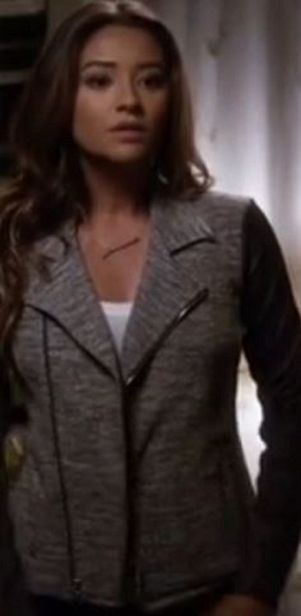 jacket shay mitchell mitchell emily fields emily fields pretty little liars pretty little liars fashion mitchies grey black perfecto série episode saison4 shay mitchell pretty little liars