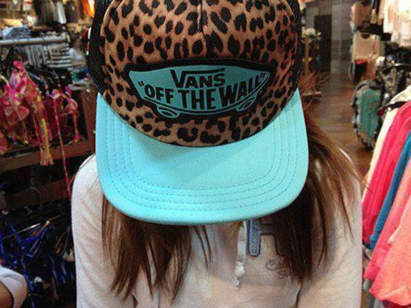 hat cap vans blue leopard print