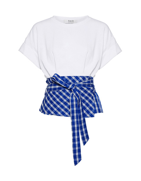 SEA white blue gingham top