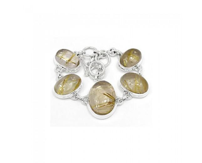 Handmade 925 sterling silver Golden Rutile Bracelet