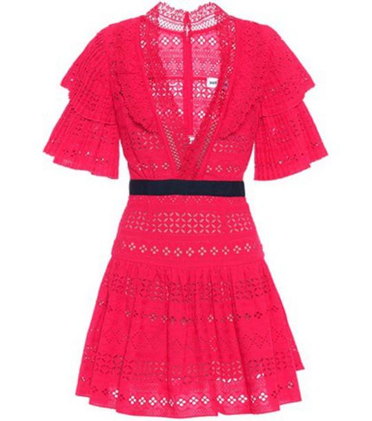 self-portrait dress mini cotton red