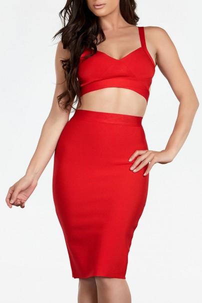 Sabrina 2 piece red bandage dress