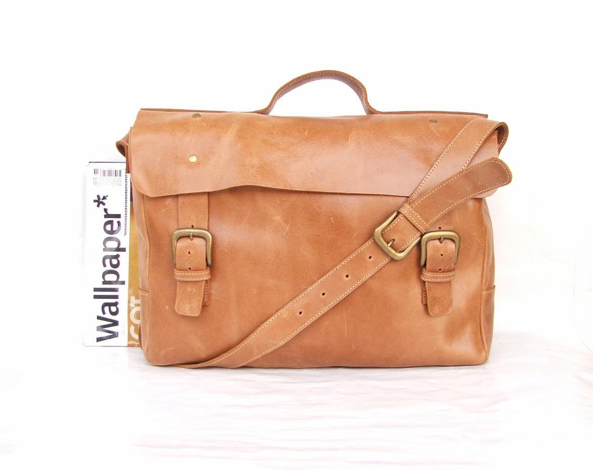 Macbook pro bag Messenger bag Mens Women light Brown Leather ...