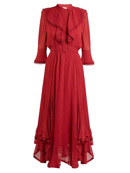 Chloe dress silk dress ruffle silk red