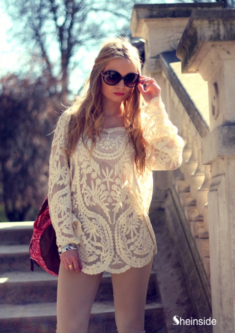 dd7e2bd06 Beige Long Sleeve Hollow Crochet Lace Blouse - Sheinside.com