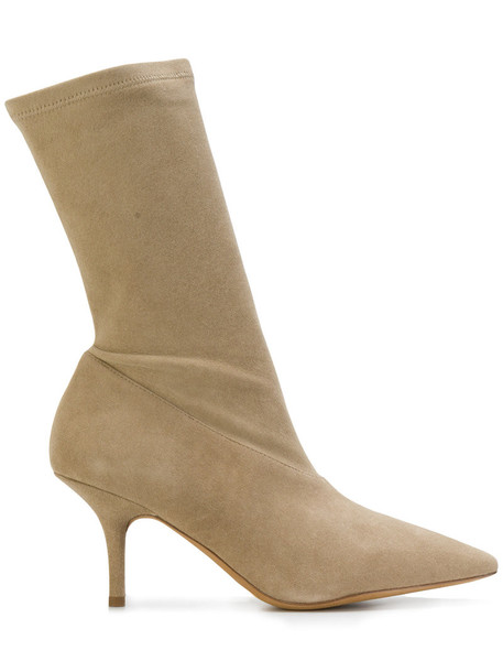 yeezy zip women ankle boots leather nude suede shoes
