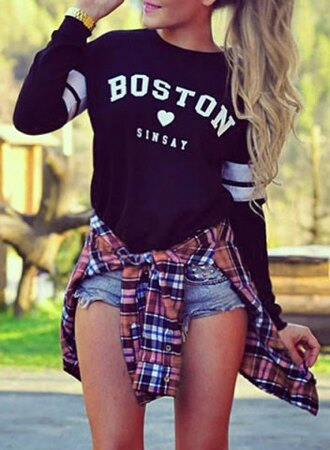sweater casual boston fashion long sleeves active style jewel neck long sleeve heart and letter pattern women's sweatshirt trendy fall outfits sporty