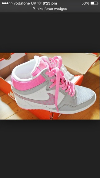 shoes pink grey light gray sneakers wedges wedge sneakers nike nike sneakers nike shoes nike wedges nike wedge sneakers