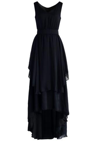 dress ethereal waterfall chiffon maxi dress in black chicwish black maxi