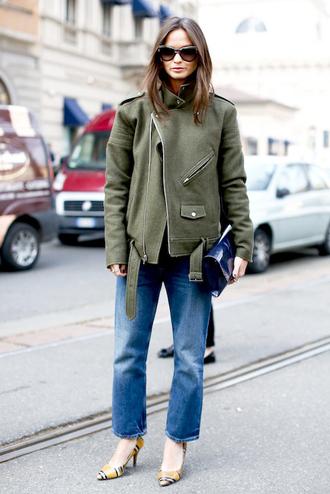 le fashion image blogger sunglasses jacket bag jeans