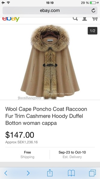 coat fluffy warm poncho cap brunette vintage poncho fur