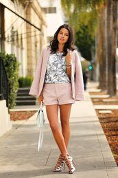 shorts,white and grey shirt,pastel pink blazer,silver heels,blogger,pink tailored shorts