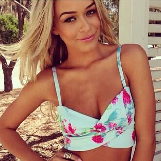 swimwear floral swimwear pretty girl blue swimwear blonde hair