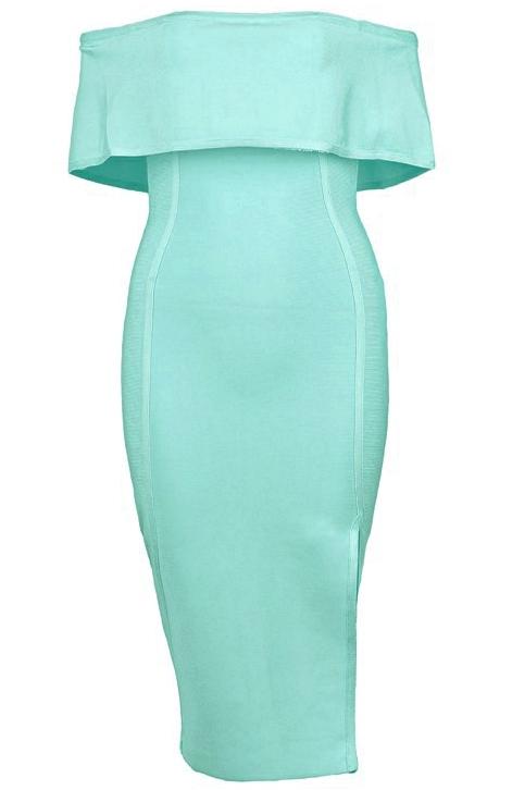 Bardot Slit Bandage Dress Turquoise