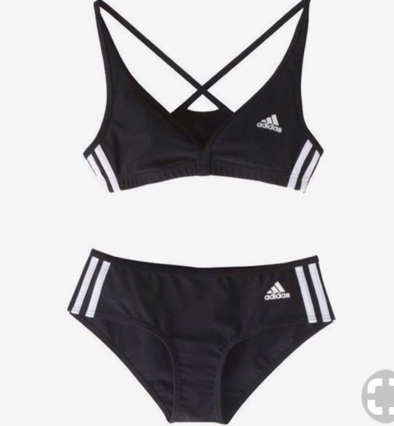 swimwear adidas black white beach summer stripes