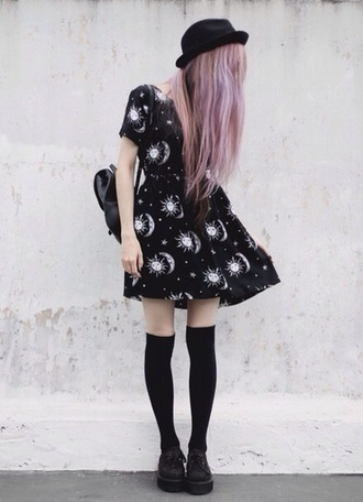 dress black grunge tumblr sun moon universe tumblr dress universe dress shoes