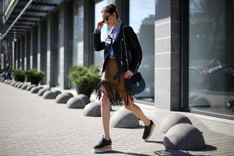 tina sizonova blogger jacket suede skirt fringe skirt black jacket perfecto