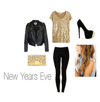 blouse leather sequins gold black new year's eve heels shoes bag