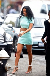 shirt,rihanna,bag,clutch,green,pastel,mint,pastel green,two-piece,skirt,top,crop tops,skirt set,heels,shoes,dress,celebrity style,outfit,2 piece skirt set