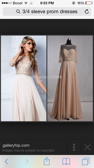 dress prom dress 3/4 sleeve dress sequin dress sexy dress beige dress floor length dress formal event outfit sweetheart neckline