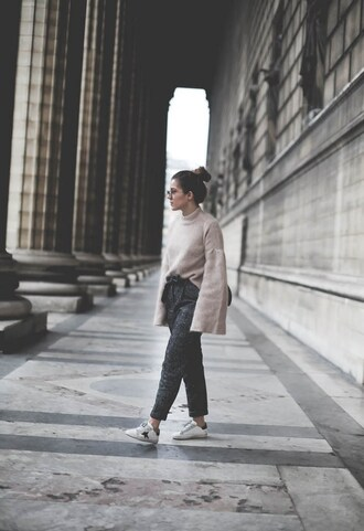 elodie in paris blogger jewels pants shoes bag bell sleeve sweater winter outfits sneakers