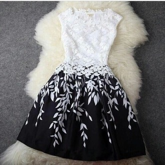 dress white dress black dress white black floral flowers blackanwhite ombre