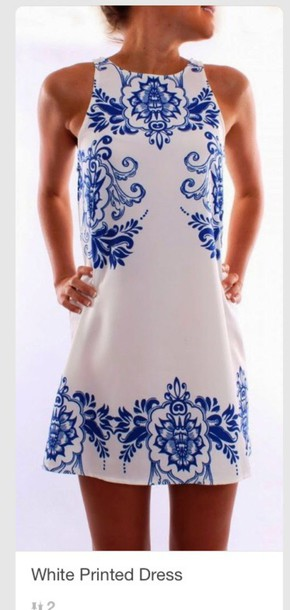 dress blue pattern white dress