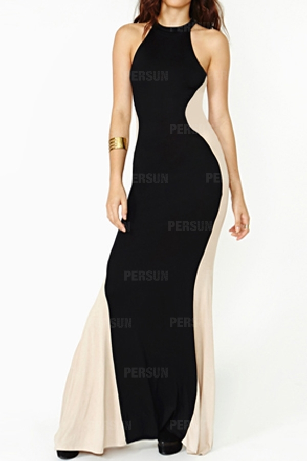 Color Block Sexy Maxi Dress in Black [FXBI00506] - PersunMall.com