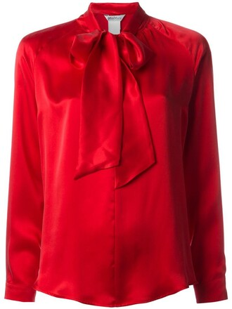 blouse bow women silk red top
