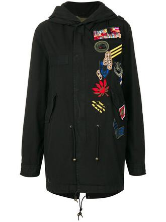 parka women cotton black silk coat