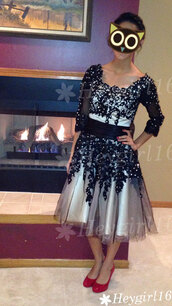 dress,3/4 sleeves prom dress,knee length,black and white,with appliques and beadings,cardigan,aztek,sweater
