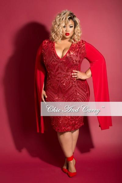Final Sale Plus Size BodyCon Mesh and Sequin Dress with Slit ...