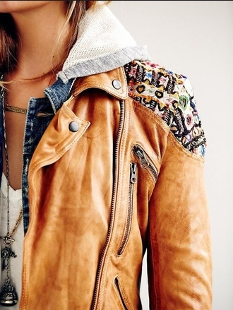jacket leather jacket black friday cyber monday coat beige leather print comfy zip cute free people tribal pattern brown fall outfits tribal jacket fall jacket denim jacket fashion detailed brown leather pattern tan hoodie jacket zip-up embellished biker jacket class boho embellished jacket
