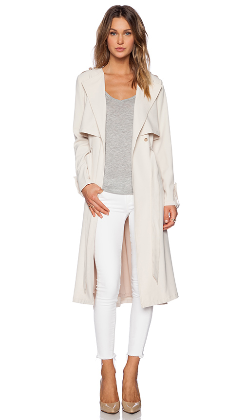 Greylin pietra trench coat in oyster from revolveclothing.com