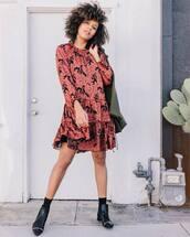 dress,mini dress,long sleeve dress,ruffle dress,floral dress,ankle boots,coat