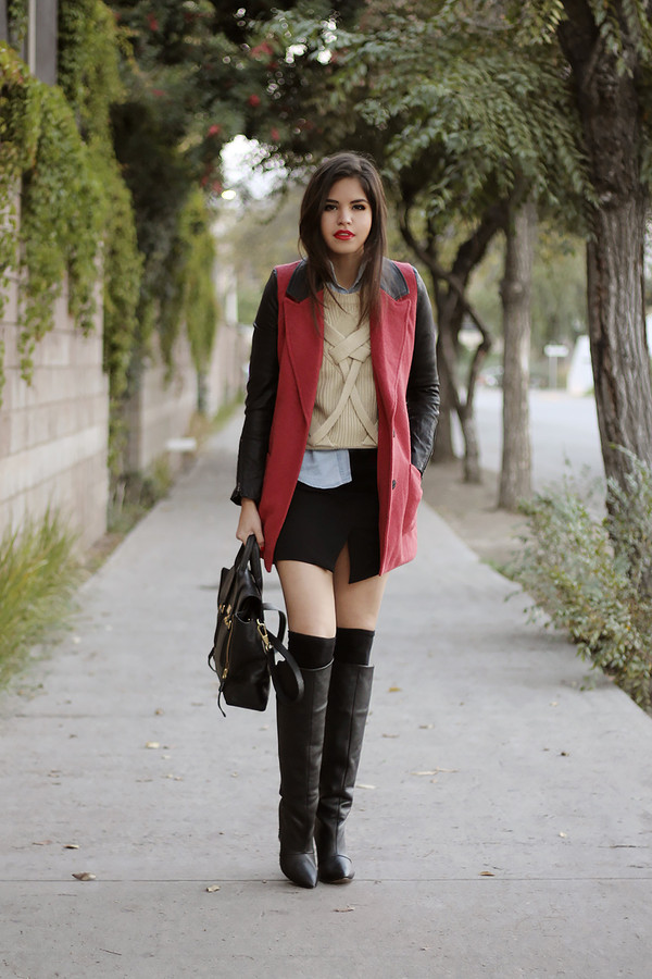 fake leather coat sweater shirt skirt bag shoes