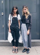 jumpsuit,pants,black,dungarees,birkenstocks,black and white,striped pants,vertical stripes,long coat,grey,blue,adidas shoes,sunglasses,overalls