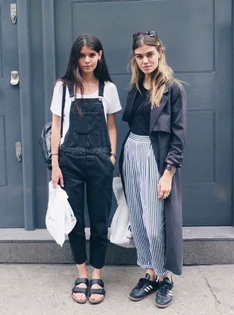 jumpsuit pants black dungarees birkenstocks black and white striped pants vertical stripes long coat grey blue adidas shoes sunglasses overalls