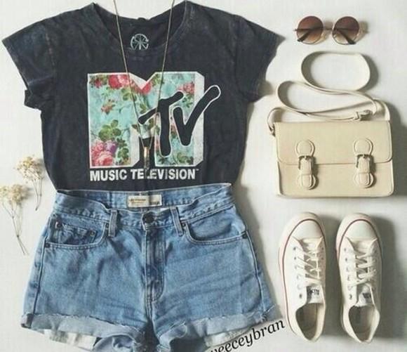 bag sunglasses jewels impression14.com t-shirt mtv top floral