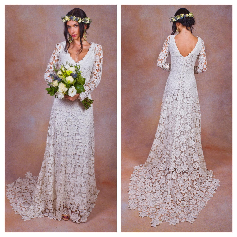 2016 New Boho Long Sleeve Wedding Dresses Top Quality Sheer V Neck ...