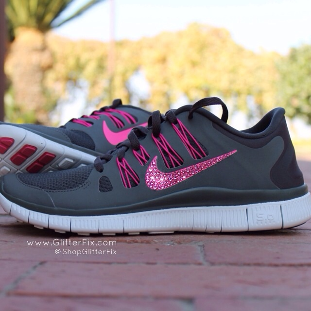 Women S Nike Free 5 0 W Swarovski Rhinestones Grey