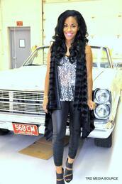 coat,faux fur,vest,jewels,cut-out heel,shoes black wedges,sequins,silver sequins