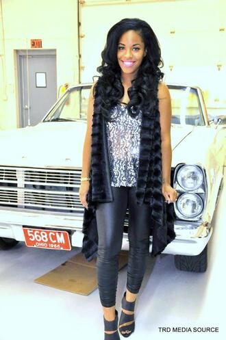 coat faux fur vest jewels cut-out heel shoes black wedges sequins silver sequins