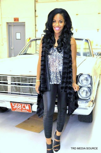silver sequins sequins coat faux fur vest jewels cut-out heel shoes black wedges