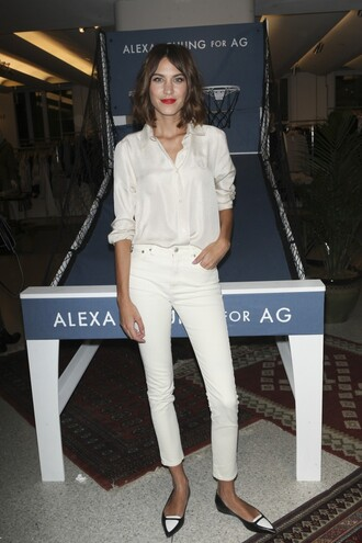 jeans blouse alexa chung flats shoes