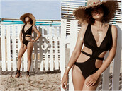 swimwear,black,summer,beach,one piece swimsuit