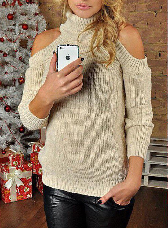 Women's Stylish Knitted Comfy Cut-Out Shoulder Sweater Top