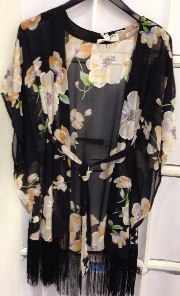 top black floral kimono