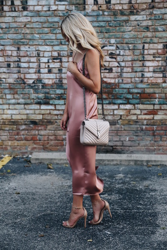 somewherelately blogger dress shoes shorts bag sunglasses jewels slip dress midi dress ysl bag dusty pink sandals high heels high heel sandals