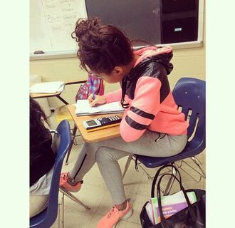 jacket sweatpants leggings hoodie coral shoes back to school pink sneakers pink black